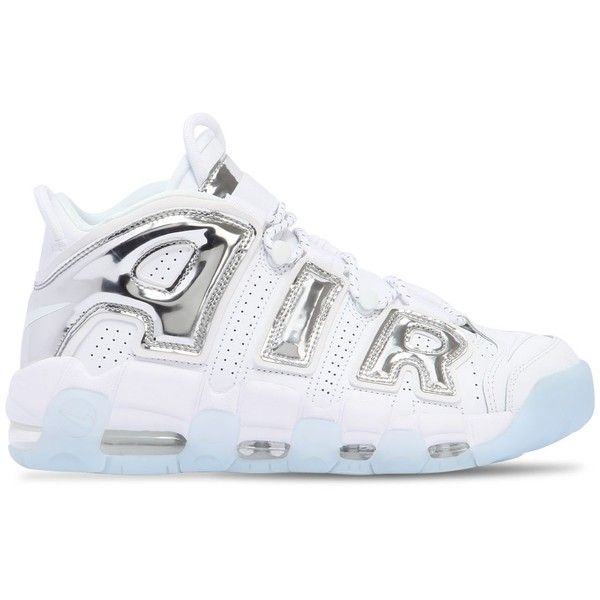 Nike Women Air More Uptempo Sneakers ($255) ❤ liked on Polyvore featuring shoes, sneakers, multicolor, rubber sole sneakers, multicolor shoes, nike, full grain leather shoes and elastic shoes