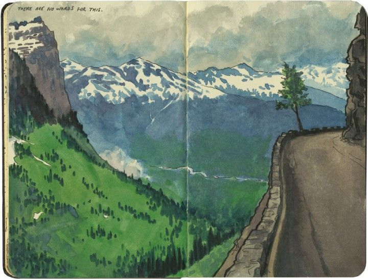 The sheer drop off a hairpin curve on the Going-to-the-Sun ...