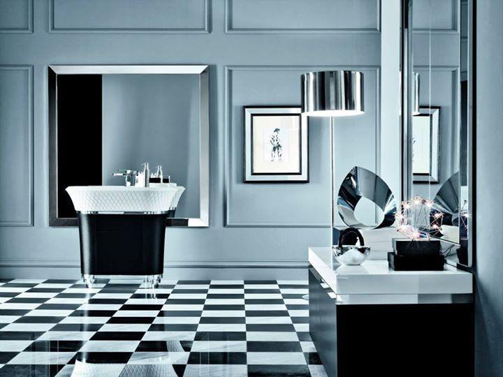 Falper George freestanding washbasin with drawer and mirror with inox frame / Lavabo à colonne à un tiroir et miroir avec cadre en inox
