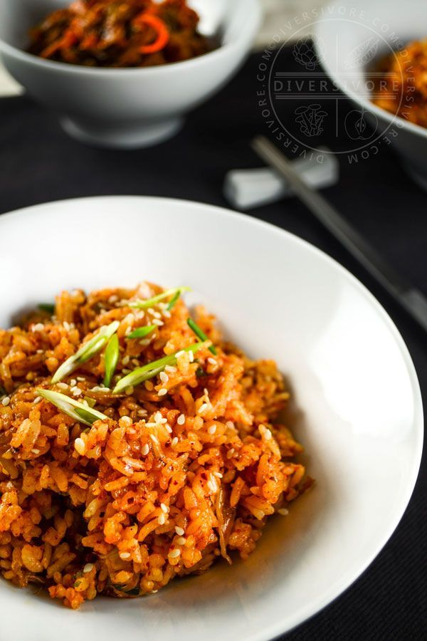 Kimchi fried rice (kimchi bokkeumbap) - fried rice with an incredible spicy twist.  A Korean classic, and easy to tweak, extend or adapt.  Add pork or fried egg to make a whole meal out of it, or make it vegan with vegetarian kimchi.