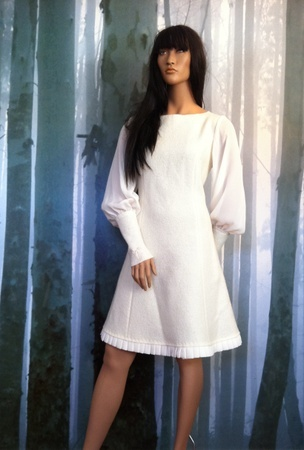 "MinSin, natural colored wool dress with chiffon sleeves. ""Elenora"""
