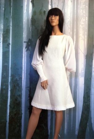 "MinSin, natural colored wool dress with chiffon sleeves. ""Elenora"""