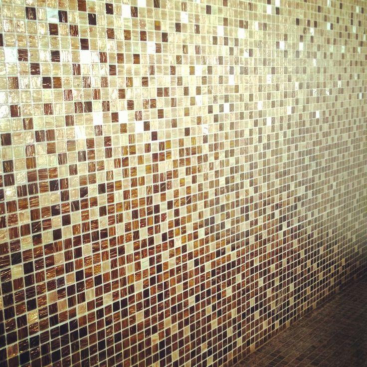 Ombre glass mosaic copper-white. STON gold silk mosaic. Villa Kapee Housing Fair Finland 2015 - Hanna-Marie Naukakrinen, Interior Architect. #asuntomessut2015