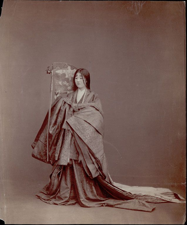 19th Century photograph of a woman wearing a juunihitoe, a layered Heian-era court garment.  Princesses and other noblewomen wore these layered robes in the Heian (Kyoto) royal court - 794-1192 ~