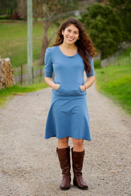 The Skippy dress is a fabulously flattering and extremely comfortable everyday dress designed to be made with your favourite stretchy knit fabric.Pretty, gathered sleeves in a choice of three lengths, a strategically placed pouch pocket, optional cowl neck and a feminine, swingy skirt make it...