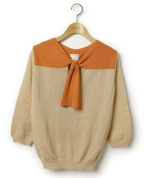 DRIES VAN NOTEN(ドリスヴァンノッテン)の古着「7分袖ニット(ニット/セーター)」|ベージュ
