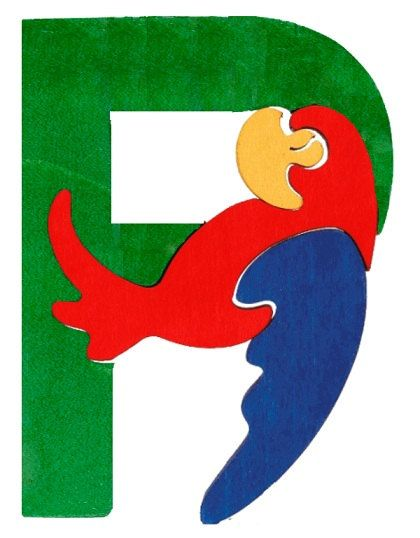 Montessori wooden puzzle letter Parrot made by hand by Ludimondo