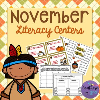These Thanksgiving themed literacy centers offer inflected ending, plural ending, ABC order, and singular/plural noun practice! Each center includes recording sheets and black and white copies! Included in this pack: - Thanksgiving ABC order (color