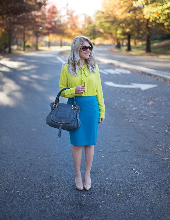 What I Wore to Work Weekly Linkup #88: Teal and Lime Green