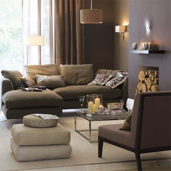 Taupe Living Room Comfortable But Clean Lines