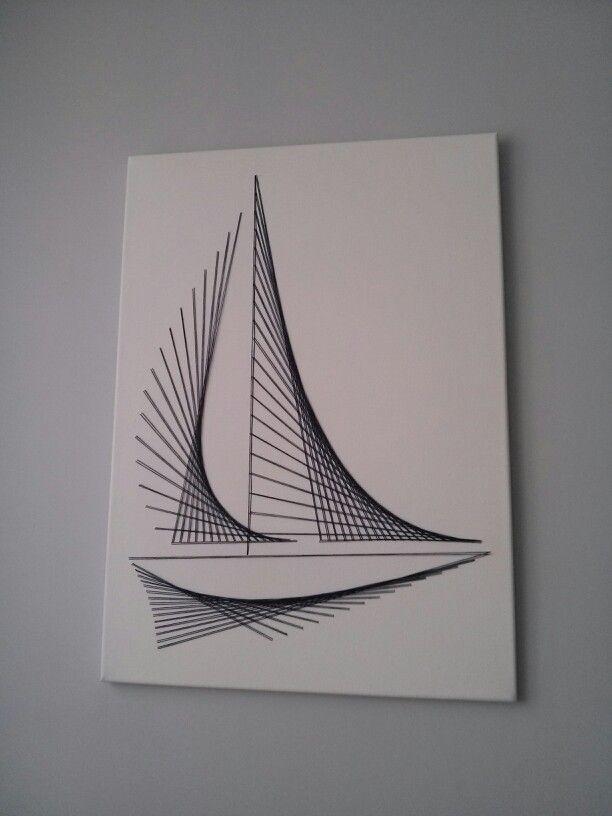 Canvas string art nautical boat minimalistic 1301