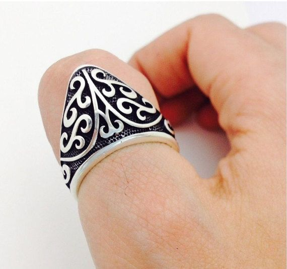 THUMB RING in traditional archery 925 silver men ZIHGIR man
