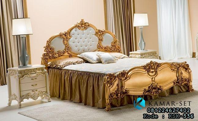 Model Set Tempat Tidur Gold Ukir Klasik Mewah Terbaru Untuk kamar tidur pengantin, set tempat tidur utama harga murah by furniture jepara