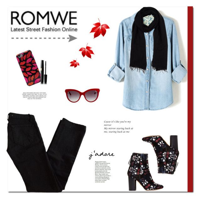 """""""Bleached denim + black and red!"""" by stream ❤ liked on Polyvore featuring moda, J Brand, Blue Les Copains, Isabel Marant, Dolce&Gabbana e Diane Von Furstenberg"""