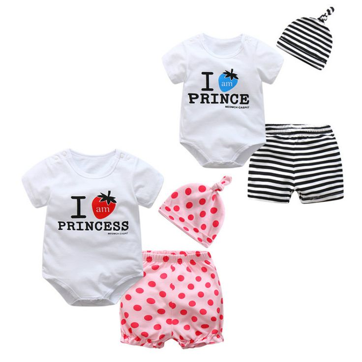 >> Click to Buy << CalaBob 2017 Newborn Baby Boy Clothes Set Summer Baby Girl Rompers Short Sleeve Cotton Printed Baby Romper+Pants+Hat 3pcs #Affiliate