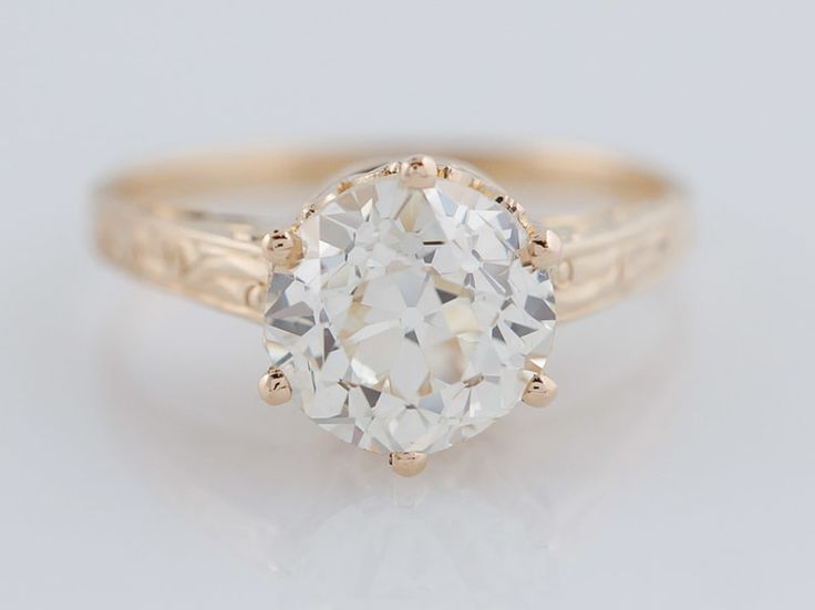 Antique Engagement Ring Art Deco 1.74ct Old European Cut Diamond in Vintage 14k Yellow Gold. Minneapolis, MN.
