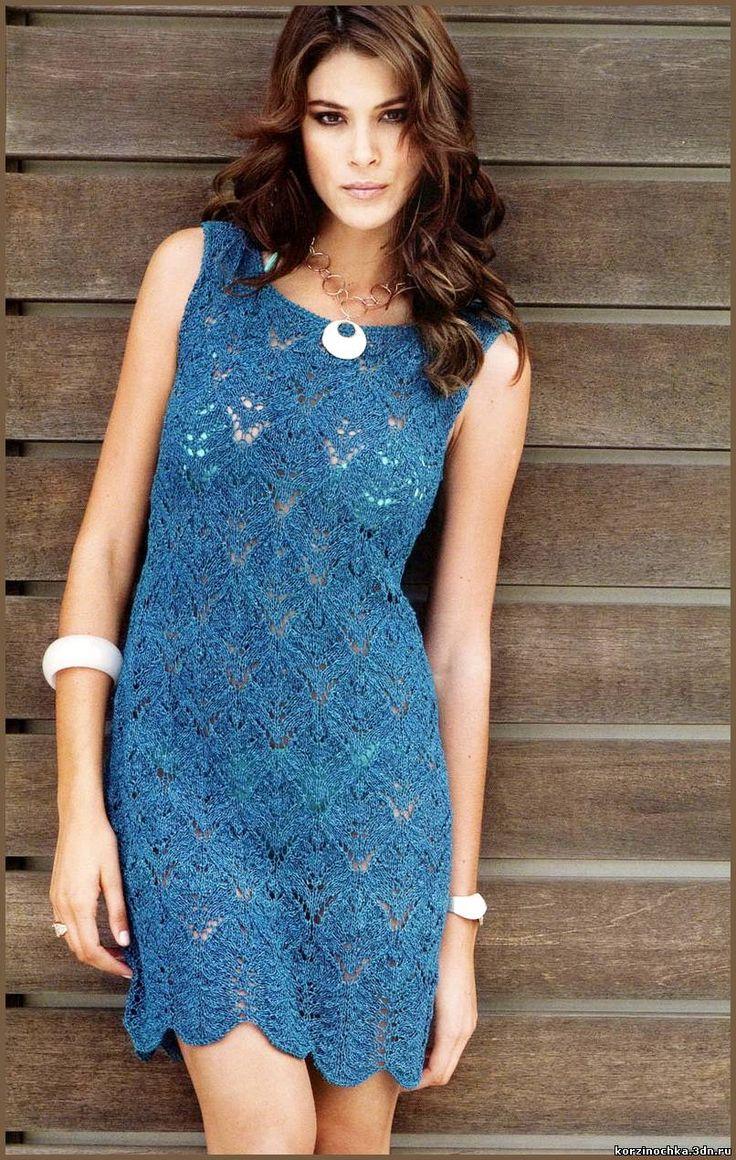Платье красивым ажурным узором.Размеры: 36/38 (Р1), 40/42 (Р2), 44/46 (Р3)Потребуется для вязания платья: 550/600/650 г темно-синей пряжи Lana Grossa Divino (75% хлопка, 25% вискозы, 110 м/50 г);сп…