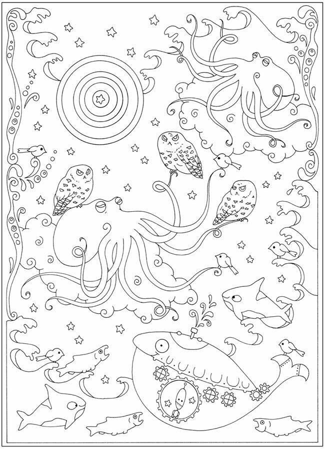 Creative Haven Curious Creatures Coloring Book Dover Publications Sample