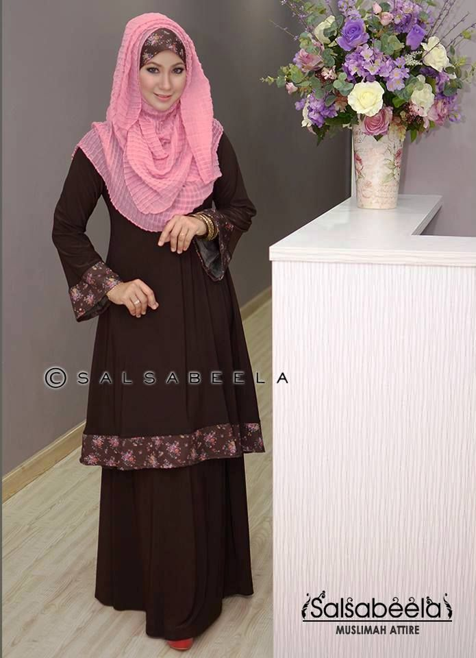 Muslimah Dark Brown Floral Baju Kurung Pahang