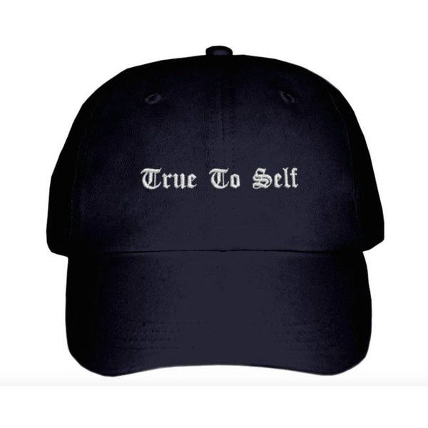 Bryson Tiller True To Self Inspired Hat ($25) ❤ liked on Polyvore featuring accessories, hats, embroidered hats, 6 panel hat, embroidery hats and six panel hat