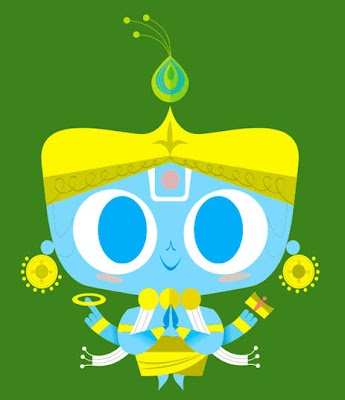 "Lord Krishna. This is from Sanjay Patel's wonderful ""The Little Book of Hindu Deities"""