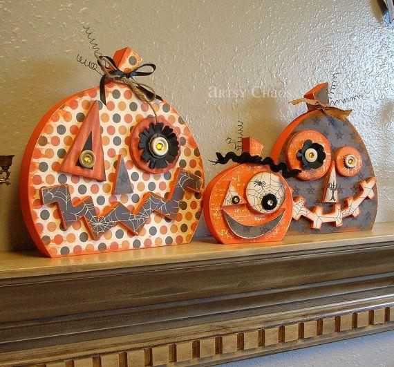 FINISHED Jack o'Lantern PUMPKIN Trio Halloween Home Decor