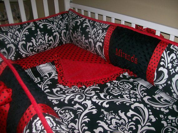 Black and White and Red Baby Bedding 4 piece by babydesignsbyelm, $229.00