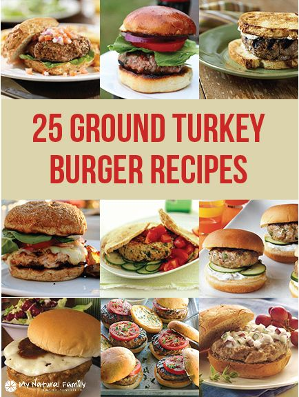 The following is a list of 25 ground turkey burger recipes, along with images for each recipe and a link to get the ground turkey buger recipe.