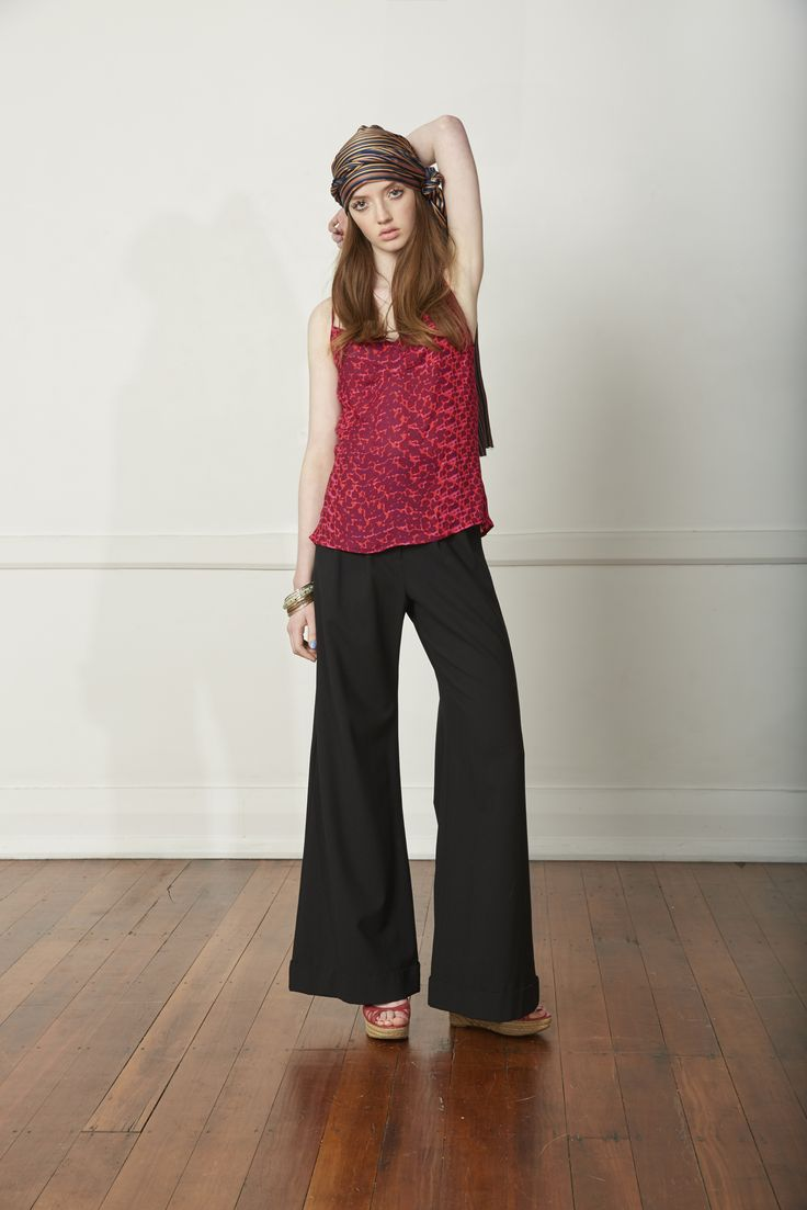Carlson Think Pink Camisole - Fuschia, Pleated Pant - Black