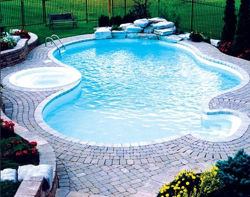 51 best images about yard on pinterest swimming pool for Kidney shaped pool designs