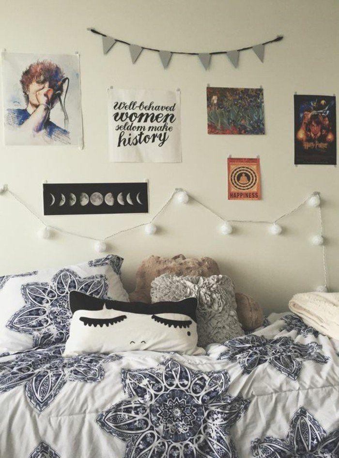 decoration murale originale chambre ado, idee deco chambre ado