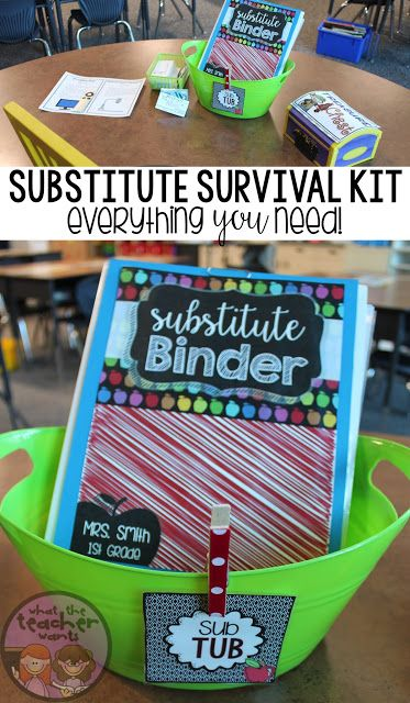 EDITABLE Substitute Survival Kit: Sub Tub! Everything you need to leave your sub while you are away! Sub plans have never been easier AND it's editable.