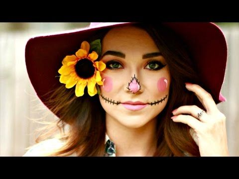 EASY DIY HALLOWEEN SCARECROW MAKEUP TUTORIAL The base make-up has some good defining techniques | MADISON BROOKER - YouTube