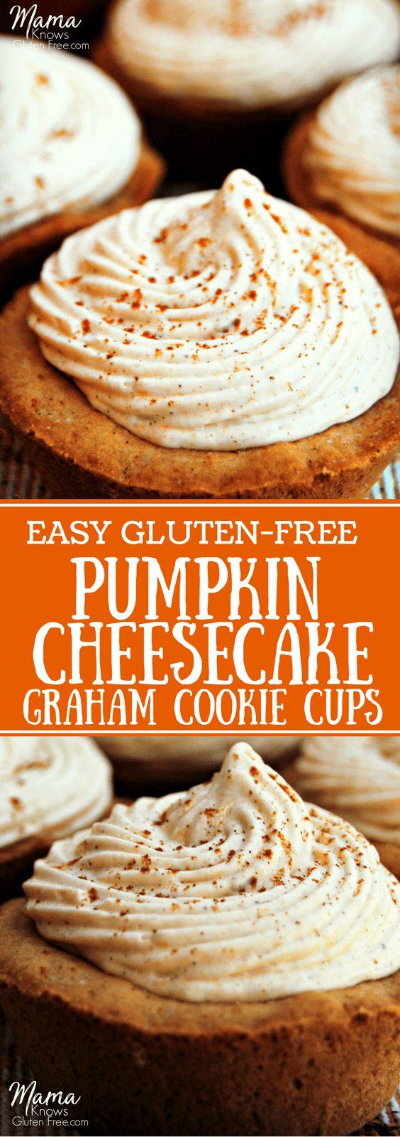 Easy Gluten-Free Pumpkin Cheesecake Graham Cookie Cups
