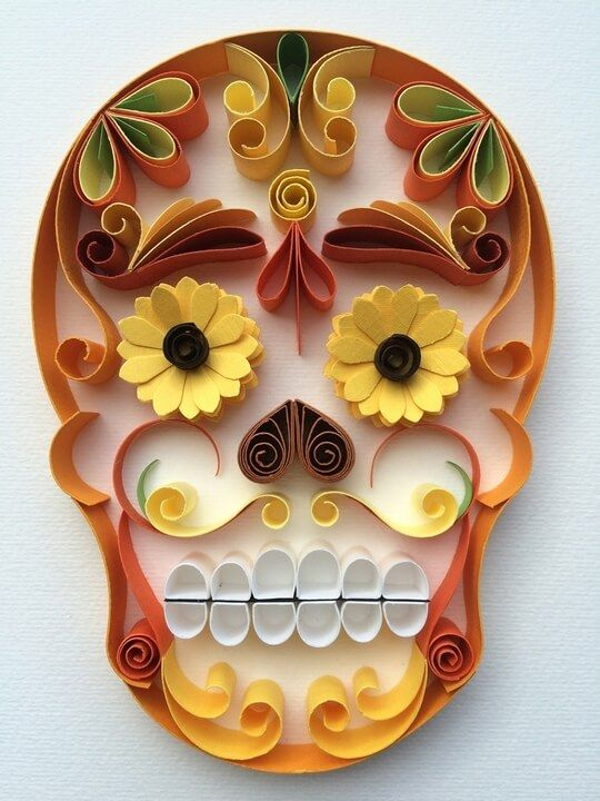 Quilled Day of the Dead skull by Armida Ortega