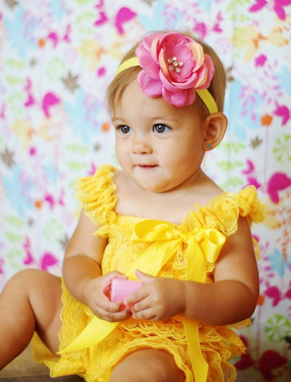 Yellow Pink Lace Romper Headband Set Petti Romper Baby