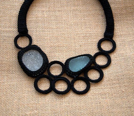 Black bib seaglass necklace 2 frosty sea glass crochet collar OOAK boho beach summer handmade gift for her Birthday on Etsy, $58.00