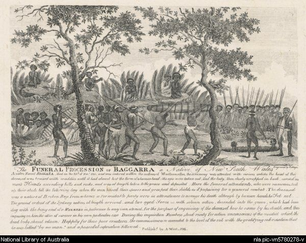 Slager, Philip, 1755-1815. The funeral procession of Baggarra, New South Wales, 1814 [picture]