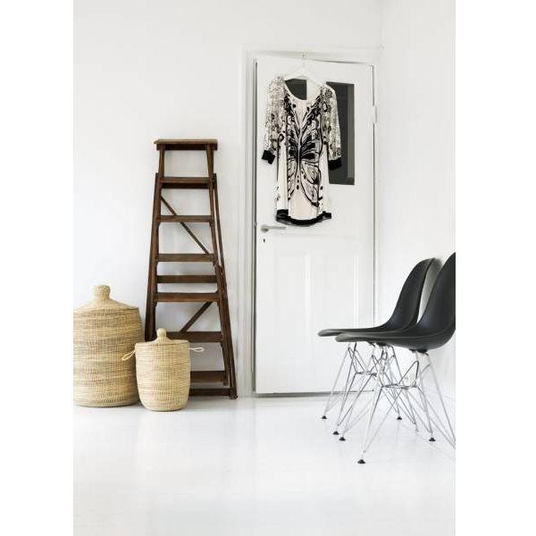 Black Eames with basketsDecor, Modern Chairs, Eames Chairs, Ladders, Interiors, Black White, White Floors, Design, White Wall