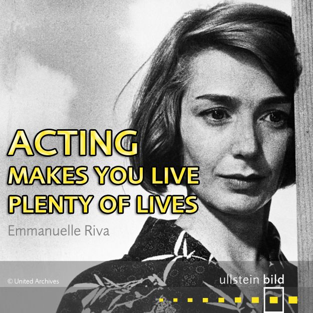 """""""Acting makes you live plenty of lives."""" Emmanuelle Riva was a French actress, best known for her roles in the films Hiroshima mon amour (1959) and Amour (2012). She was born 90 years ago today, but unfortunately died on 27th January 2017."""