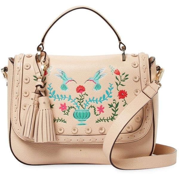 Kate Spade New York Women's Dewitt Lane Sheilah Satchel - Cream/Tan ($264) ❤ liked on Polyvore featuring bags, handbags, tan handbags, kate spade handbags, tan satchel handbags, flap handbags and handle satchel