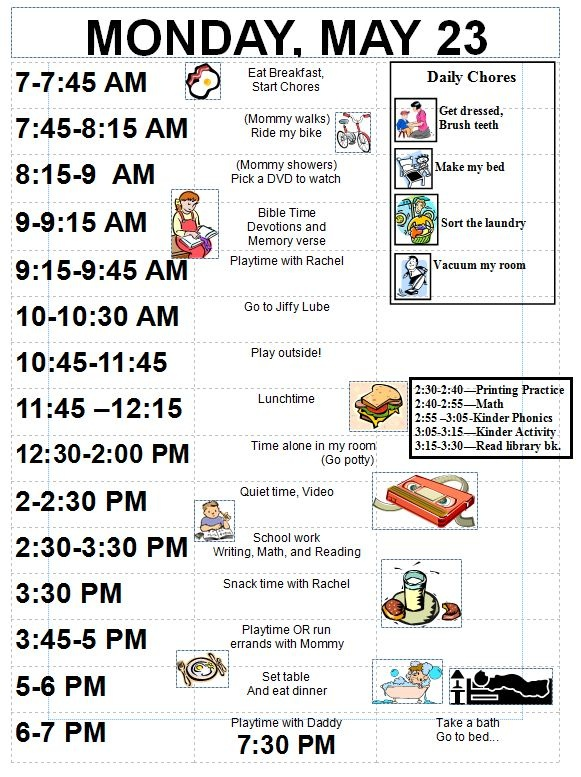 Sample schedule for 5 year old - detailed Organized Schedules