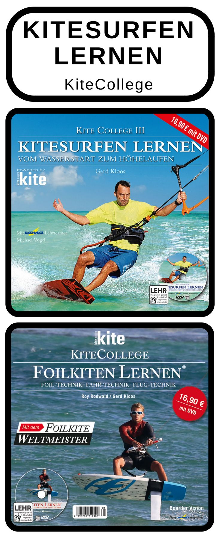 Du willst Kitesurfen oder Foilkiten lernen? Mit den Büchern von KiteCollege machst du schneller Fortschritte und kommst schneller aufs Kite- oder Foilboard. Hol dir jetzt dein KiteCollege Buch und pushe deine Skills schneller aufs nächste Level. #kitesurfen #kitecollege #kitebeginner