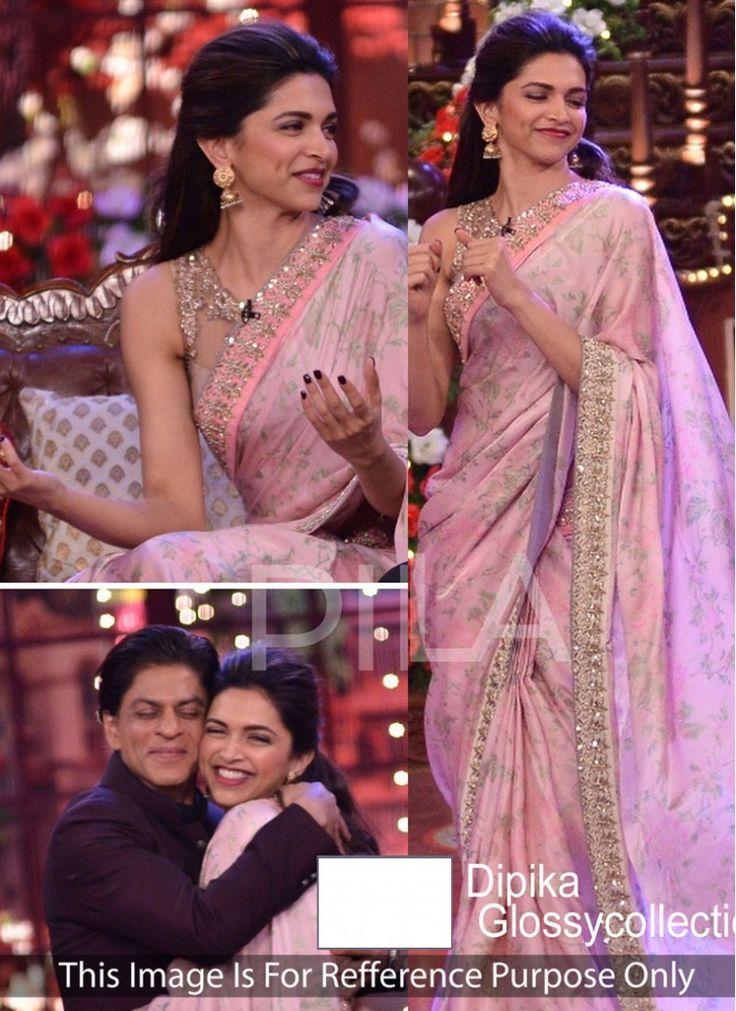 Deepika Padukone Pink Designer Reception wear Saree