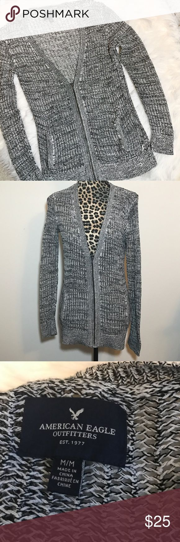 """🔸SALE🔸American Eagle waffle knit zipper Cardigan This is new without tag!  Still has the size sticker on it!  100% Cotton. Black and white knit. Zips about half way. Pockets. 29"""" length. 19"""" bust laying flat. Check out the TOP of my Closet for Current SALES! American Eagle Outfitters Sweaters Cardigans"""