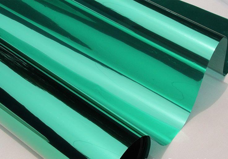 Ширина 30/40/50/60/70/80/85 по длине 100см серебро изоляции оконная пленка наклейки Солнечная светоотражающие одну сторону зеркала зеленый серебро