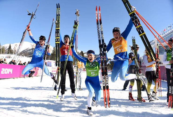 Silver medalists Krista Lahteenmaki, Anne Kylloenen, Aino-Kaisa Saarinen and Kerttu Niskanen of Finland celebrate after the Women's 4 x 5 km Relay (c) Getty Images