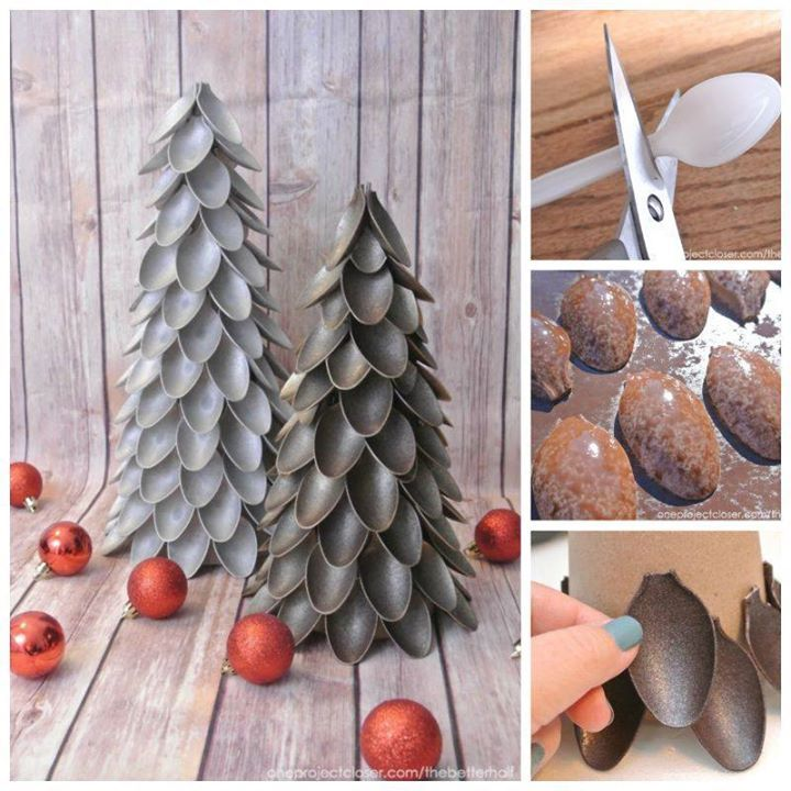 Unique Plastic Spoon Christmas Trees! This is a very unique and clever Christmas tree idea! Made from plastic spoons! It's a great way to recycle! Very cheap and gorgeous holiday tree! I'm sure your guests will ask how you made this! A wonderful addition to your holiday decors! #spoonholidaytree #recycleplasticspoons #uniquechristmastree