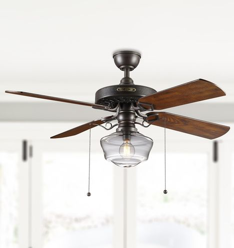 Heron ceiling fan with light kit aged bronze fumed oak blades clear ogee schoolhouse shade aged bronze finish with fumed oak blades