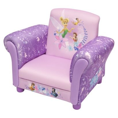 Kids Upholstered Chair: Delta Children's Products Fairies Upholstered-Add a whimsical look and feel to your child's bedroom or playroom with this upholstered chair from delta children's products. Featuring the mischievous Disney fairies, it has a pink & purple color palette your little one will love.After a day of playing, she will enjoy reading, watching tv or just relaxing in the comfort of this pretty chair  Price $55.99 SEE MORE: http://www.everythingkids.co/childrens-furniture/